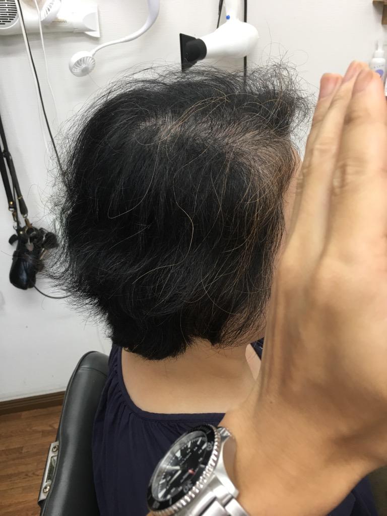 カット前の髪